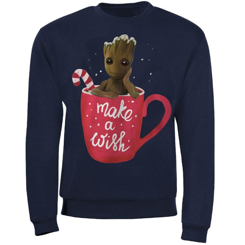 Unisex vianočný sweatshirt Guardians of the Galaxy - Make A Wish Groot