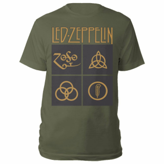 Tričko Led Zeppelin - Gold Symbols in Black Square