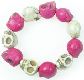 Náramok Poizen Industries - Large Skull, pink/white