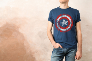 Tričko Captain America - Distressed Shield (Navy)