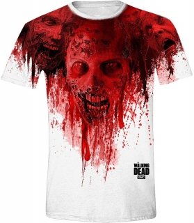Tričko - The Walking Dead - Walkers in Face Stain Full Printed white