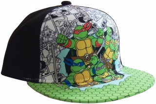 Šiltovka - Turtles - Group Turtles Kids Cap - Black/ all over