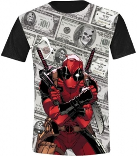 Tričko - Deadpool - Dollars Full Printed, Anthracite