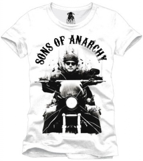 Tričko - Sons of Anarchy - Jax On Motocycle, White