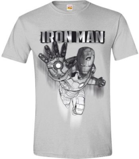 Tričko Iron Man - Drawing, Grey Melange