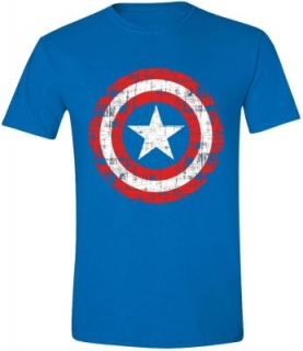 Tričko Captain America - Cracked Shield Cobalt