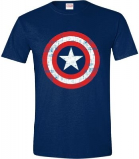 Tričko Captain America - Cracked Shield Navy