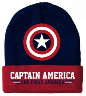 Zimná čiapka - Captain America - Modern Shield Beanie - Navy/Red