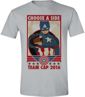 Tričko Captain America - Choose A Side - Grey Melange