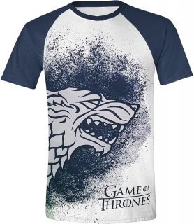 Tričko - Game of Thrones - Painted Stark Raglan