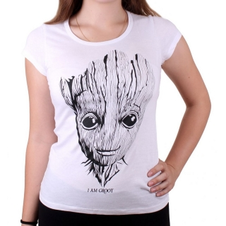 Dámske tričko Guardians of the Galaxy - Groot Sketch - White