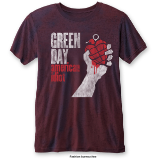 Tričko Green Day - American Idiot Vintage, navy blue & red 2-tone