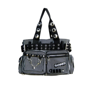 Kabelka Banned - Pin Stripe Handbag / Shoulder Bag Black White